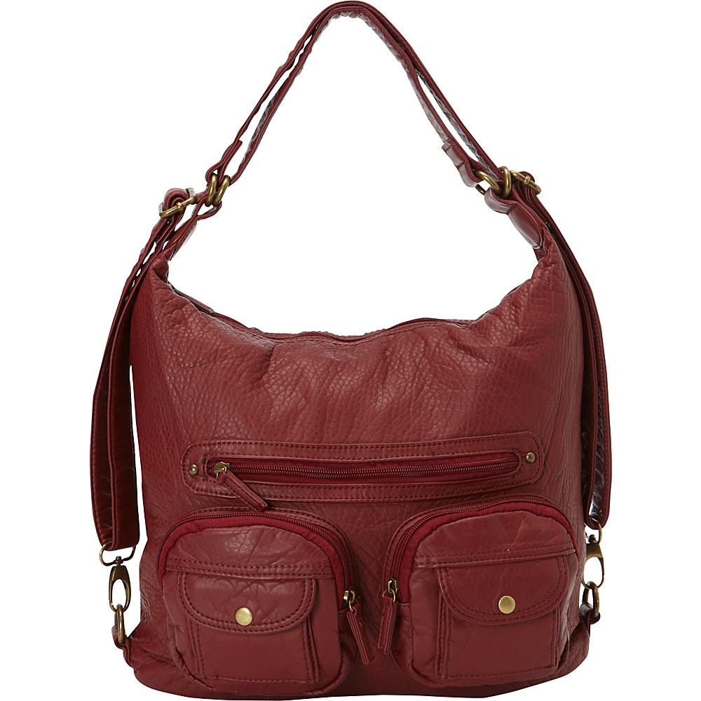 Ampere Creations Convertible Backpack Crossbody Purse Burgundy - Ampere Creations Manmade Handbags