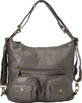 Ampere Creations Convertible Backpack Crossbody Purse Dark Silver - Ampere Creations Manmade Handbags