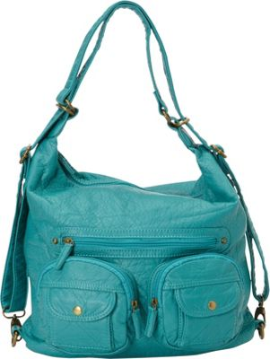Image of Ampere Creations Convertible Backpack Crossbody Purse Light Blue - Ampere Creations Manmade Handbags