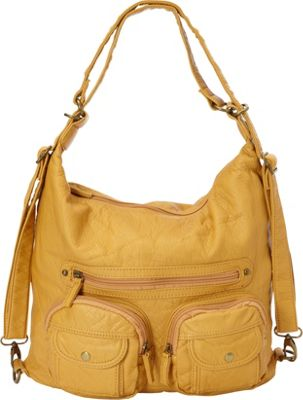 Ampere Creations Ampere Creations Convertible Backpack Crossbody Purse Mustard - Ampere Creations Manmade Handbags