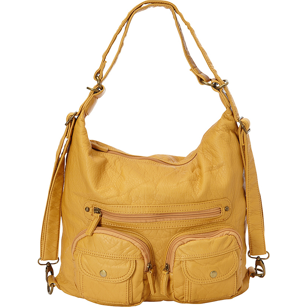 Ampere Creations Convertible Backpack Crossbody Purse Mustard - Ampere Creations Manmade Handbags