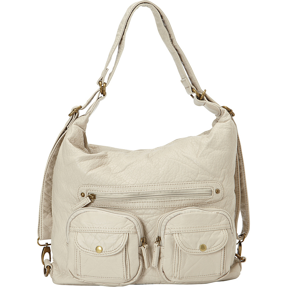 Ampere Creations Convertible Backpack Crossbody Purse Taupe - Ampere Creations Manmade Handbags