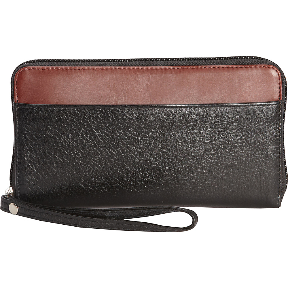Derek Alexander Large Ladies Zip Wallet Black/Brandy - Derek Alexander Womens Wallets - Women's SLG, Women's Wallets