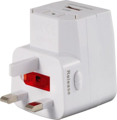Go Travel Worldwide Adaptor + USB White - Go Travel Electronic Accessories