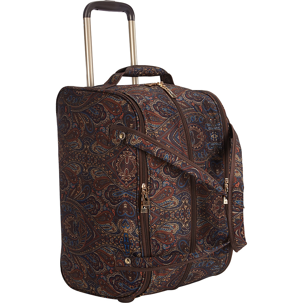 "London Fog Soho 19"" International Wheeled Club Bag Brown Paisley - London Fog Softside Carry-On"