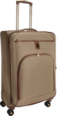 London Fog Cambridge 25 inch Expandable Spinner Olive Plaid Houndstooth - London Fog Softside Checked