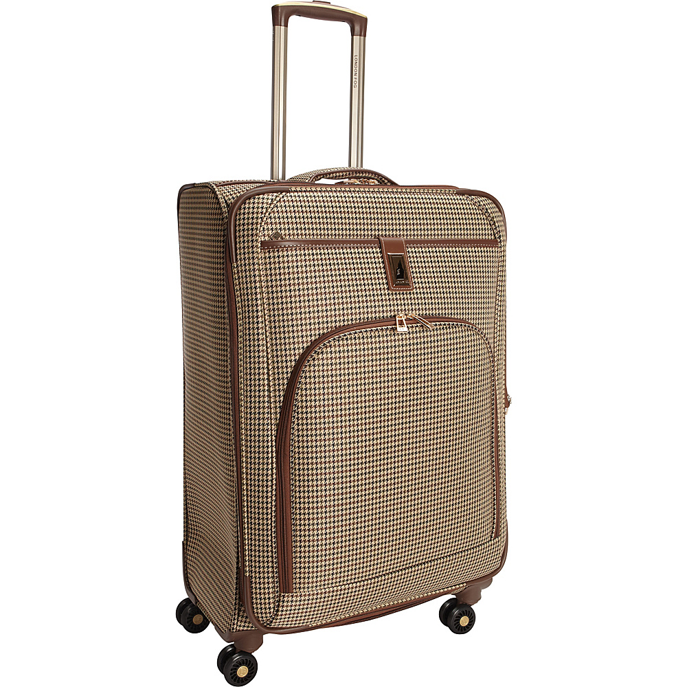 "London Fog Cambridge 25"" Expandable Spinner Olive Plaid Houndstooth - London Fog Softside Checked"