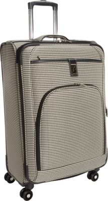 London Fog Cambridge 25 inch Expandable Spinner Black White Houndstooth - London Fog Softside Checked