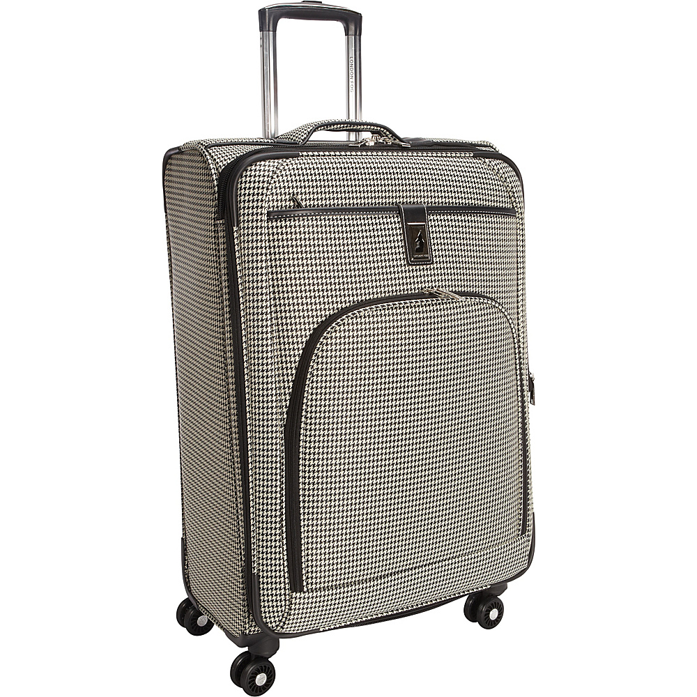 "London Fog Cambridge 25"" Expandable Spinner Black White Houndstooth - London Fog Softside Checked"