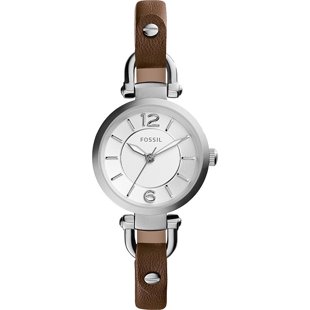 Fossil Georgia Three-Hand Leather Watch Brown/Silver - Fossil Watches - Fashion Accessories, Watches