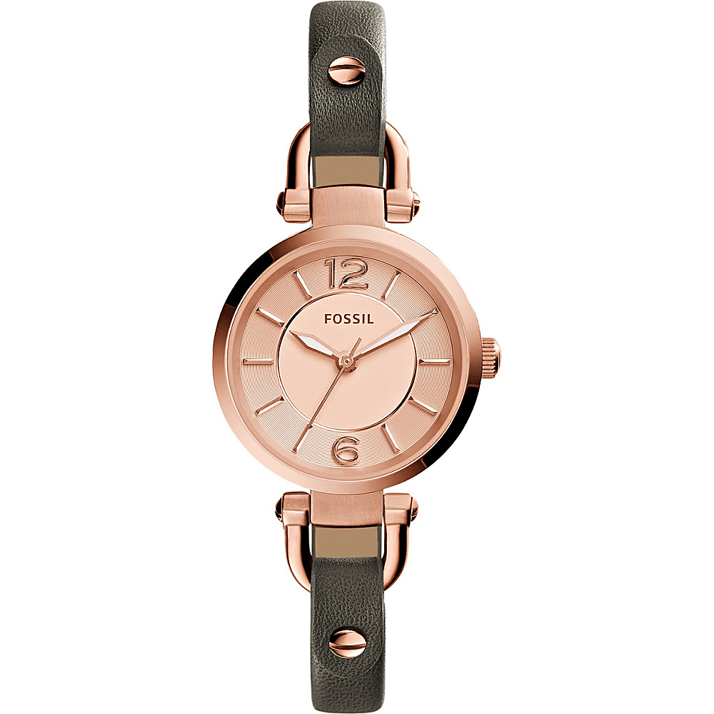 Fossil Georgia Three-Hand Leather Watch Grey/Rose Gold - Fossil Watches - Fashion Accessories, Watches