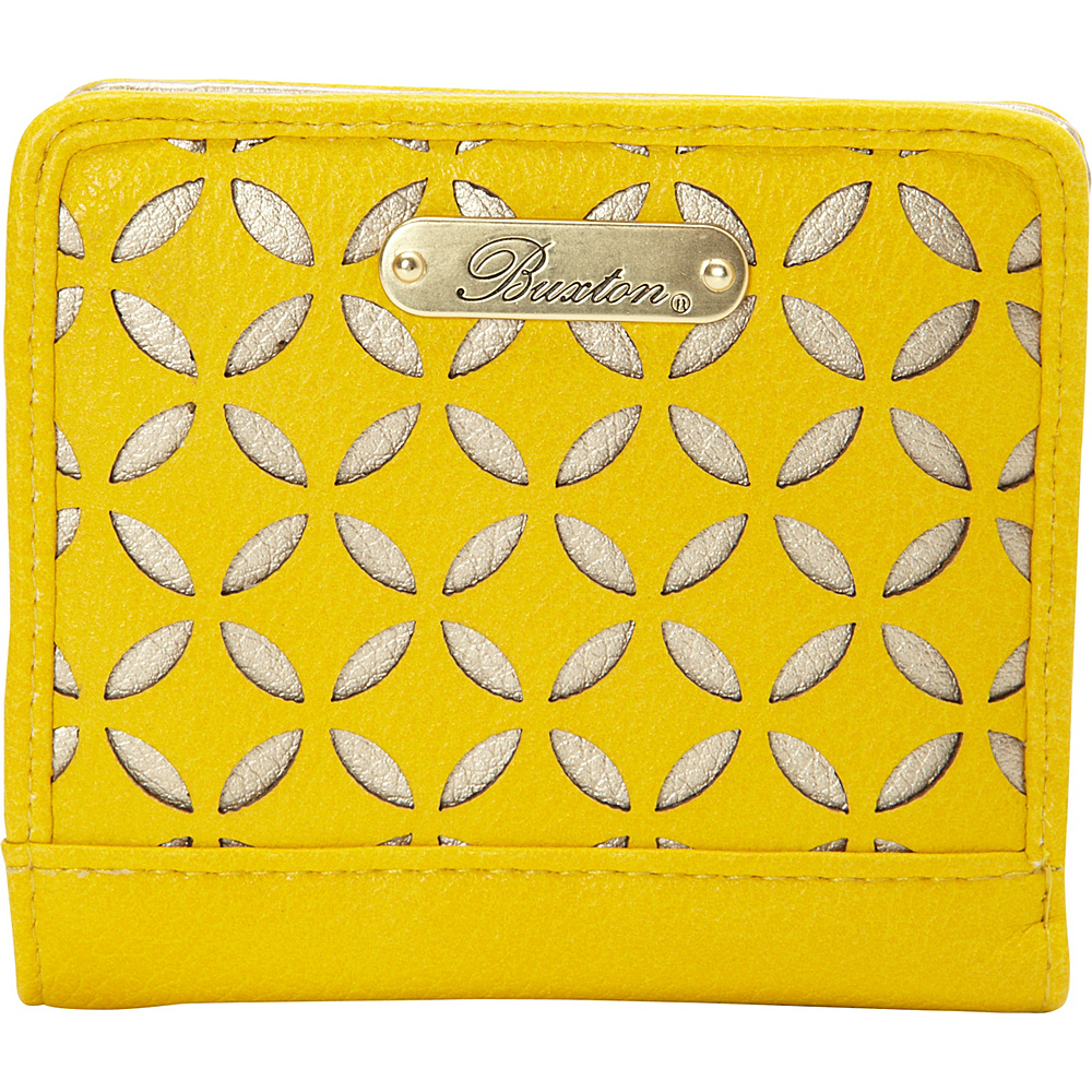 Buxton Polka Dot Laser Cut Medium Snap Billfold - Exclusive Sunshine - Exclusive Color - Buxton Womens Wallets - Women's SLG, Women's Wallets