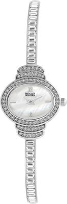 Image of Badgley Mischka Watches Oval Crystal Bangle Watch Silver - Badgley Mischka Watches Watches
