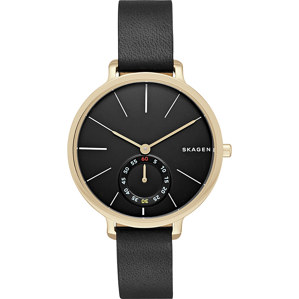 Skagen Hagen Multifunction Leather Watch Black Skagen Watches