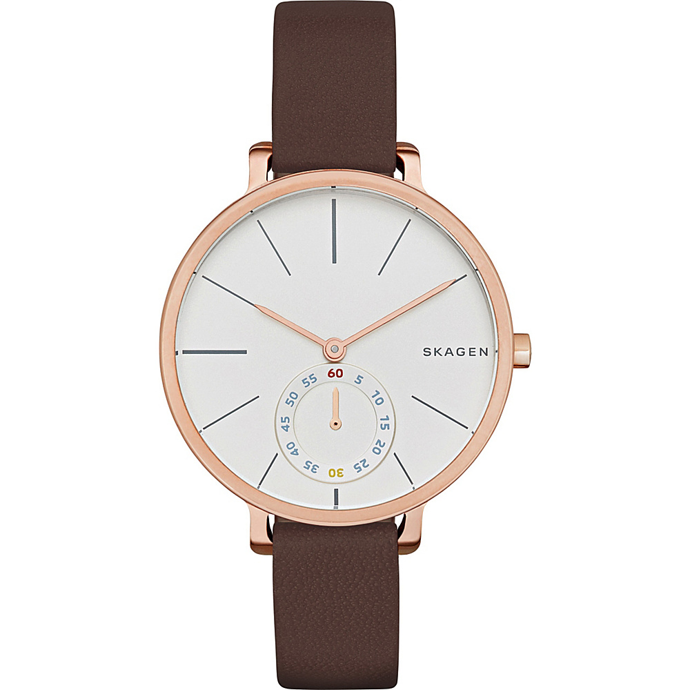 Skagen Hagen Multifunction Leather Watch Dark Brown Skagen Watches