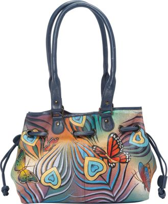 ANNA by Anuschka Draw-String Tote Flying Peacock - ANNA by Anuschka Leather Handbags