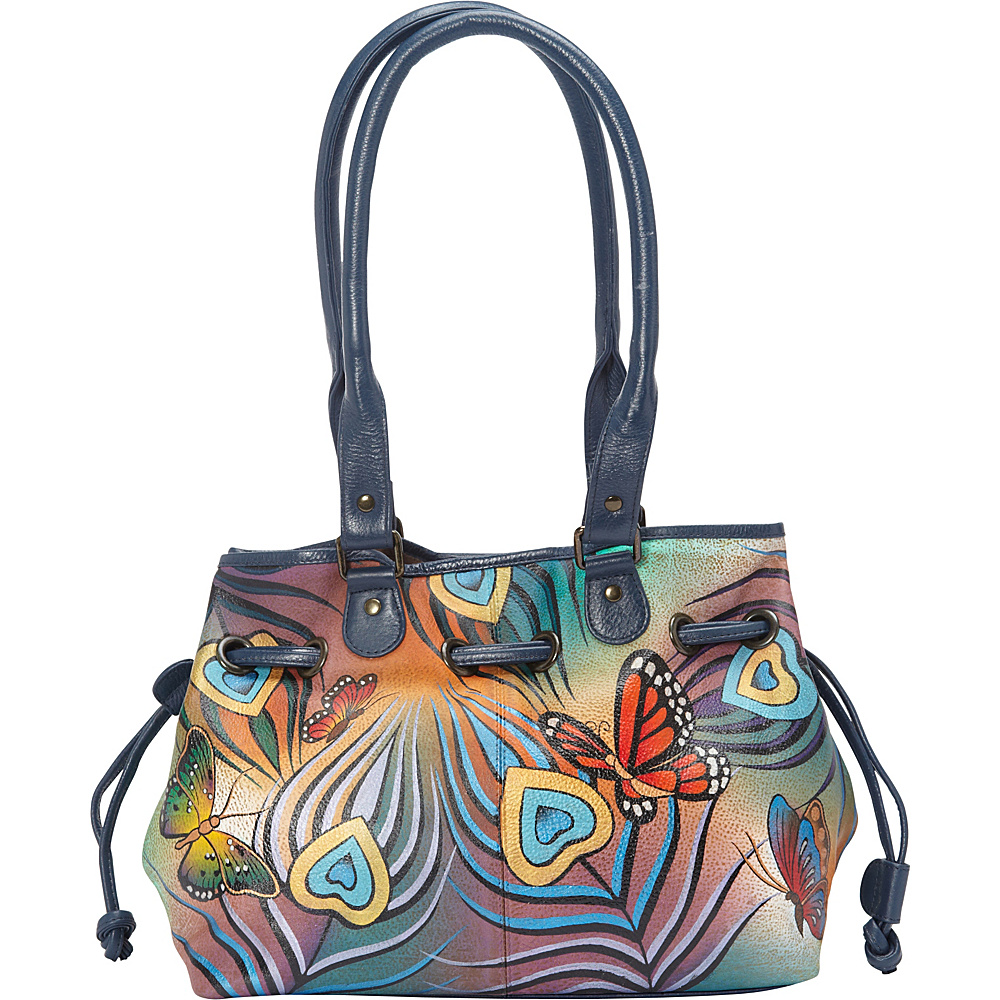 ANNA by Anuschka Draw String Tote Flying Peacock ANNA by Anuschka Leather Handbags