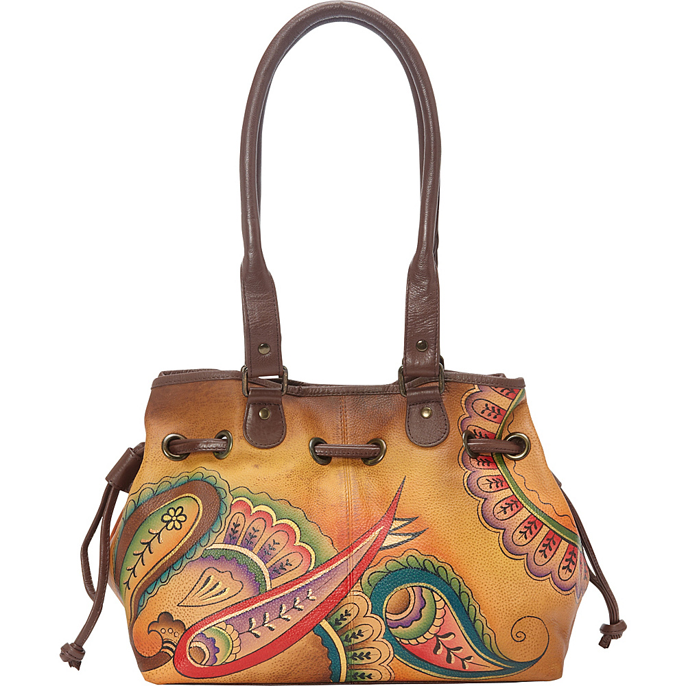 ANNA by Anuschka Draw String Tote Royal Paisley ANNA by Anuschka Leather Handbags