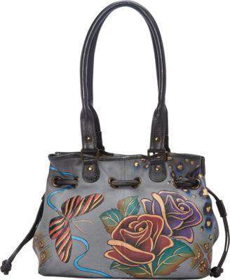 ANNA by Anuschka Draw-String Tote Rose Safari Grey - ANNA by Anuschka Leather Handbags