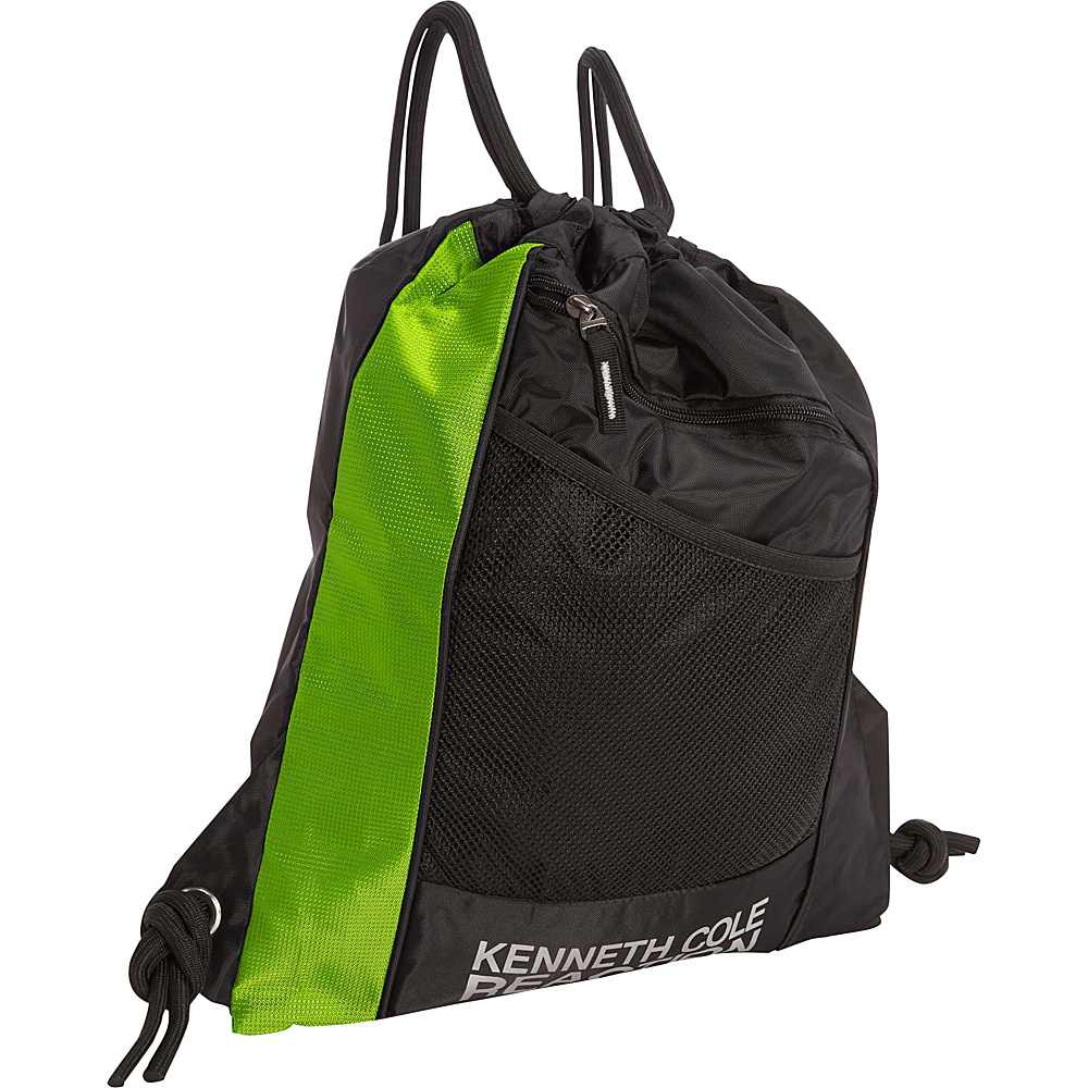 Kenneth Cole Reaction Drawstring Backpack Neon Green/Black - Kenneth Cole Reaction School & Day Hiking Backpacks