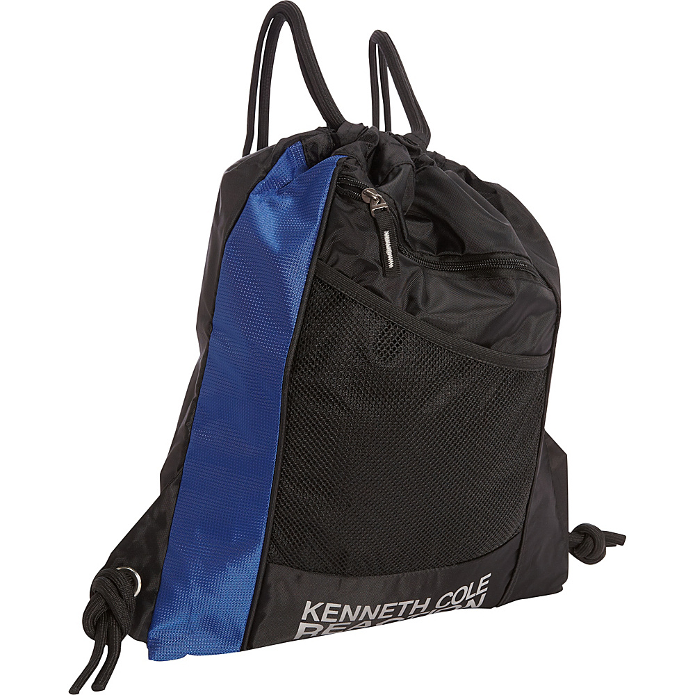 Kenneth Cole Reaction Drawstring Backpack Blue/Black - Kenneth Cole Reaction School & Day Hiking Backpacks