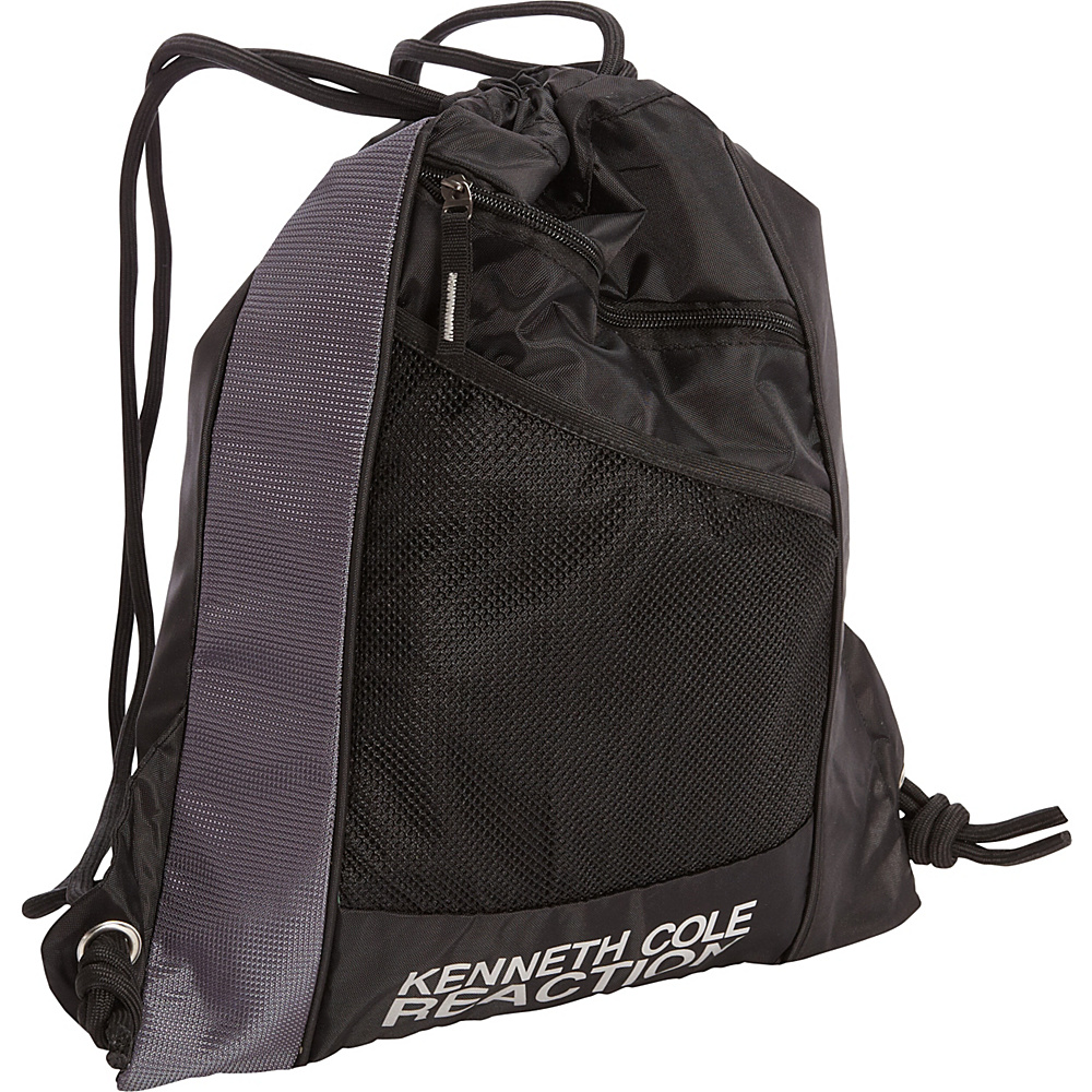 Kenneth Cole Reaction Drawstring Backpack Black/Silver - Kenneth Cole Reaction School & Day Hiking Backpacks