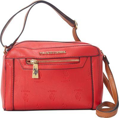 U.S. Polo Association Logo Embossed Logo Crossbody Red/Cognac - U.S. Polo Association Manmade Handbags