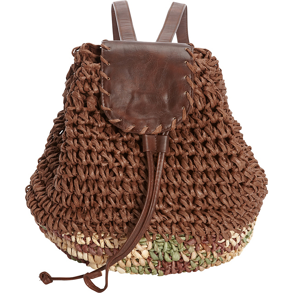 Sun N Sand Biscayne Backpack Brown - Sun N Sand Straw Handbags - Handbags, Straw Handbags