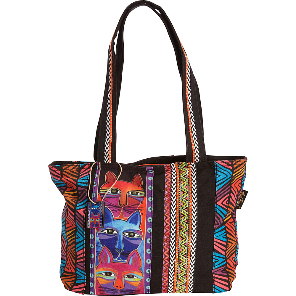 Laurel Burch Stacked Whiskered Cats Medium Tote Multi Laurel Burch Fabric Handbags