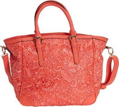 SW Global Farah Retro Lace Tote Bag Red - SW Global Manmade Handbags