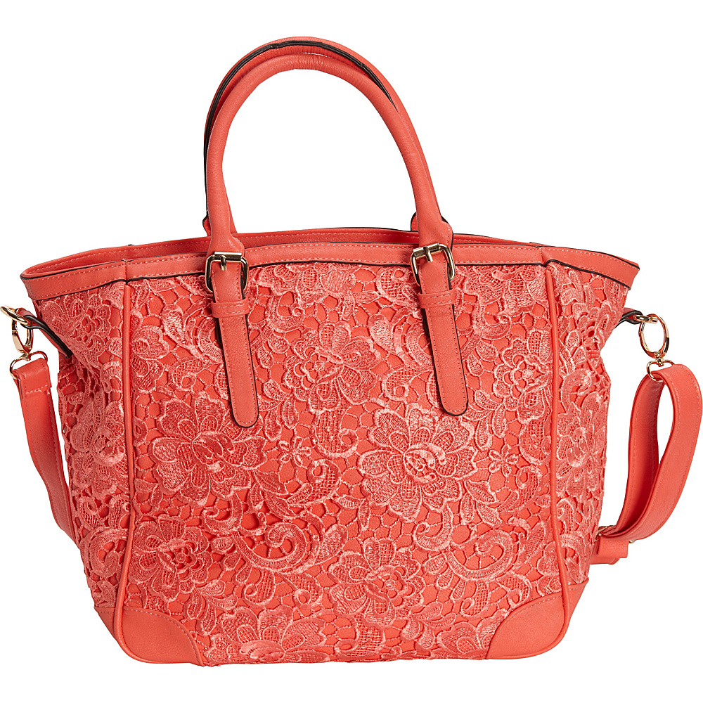 SW Global Farah Retro Lace Tote Bag Red - SW Global Manmade Handbags - Handbags, Manmade Handbags