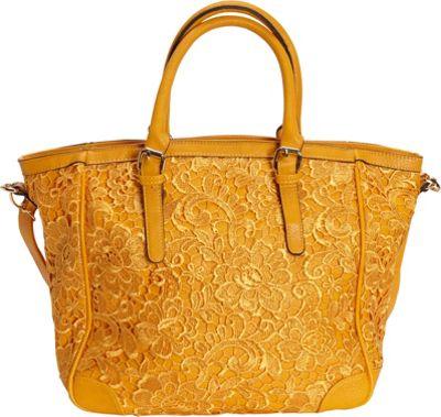 SW Global Farah Retro Lace Tote Bag Yellow - SW Global Manmade Handbags