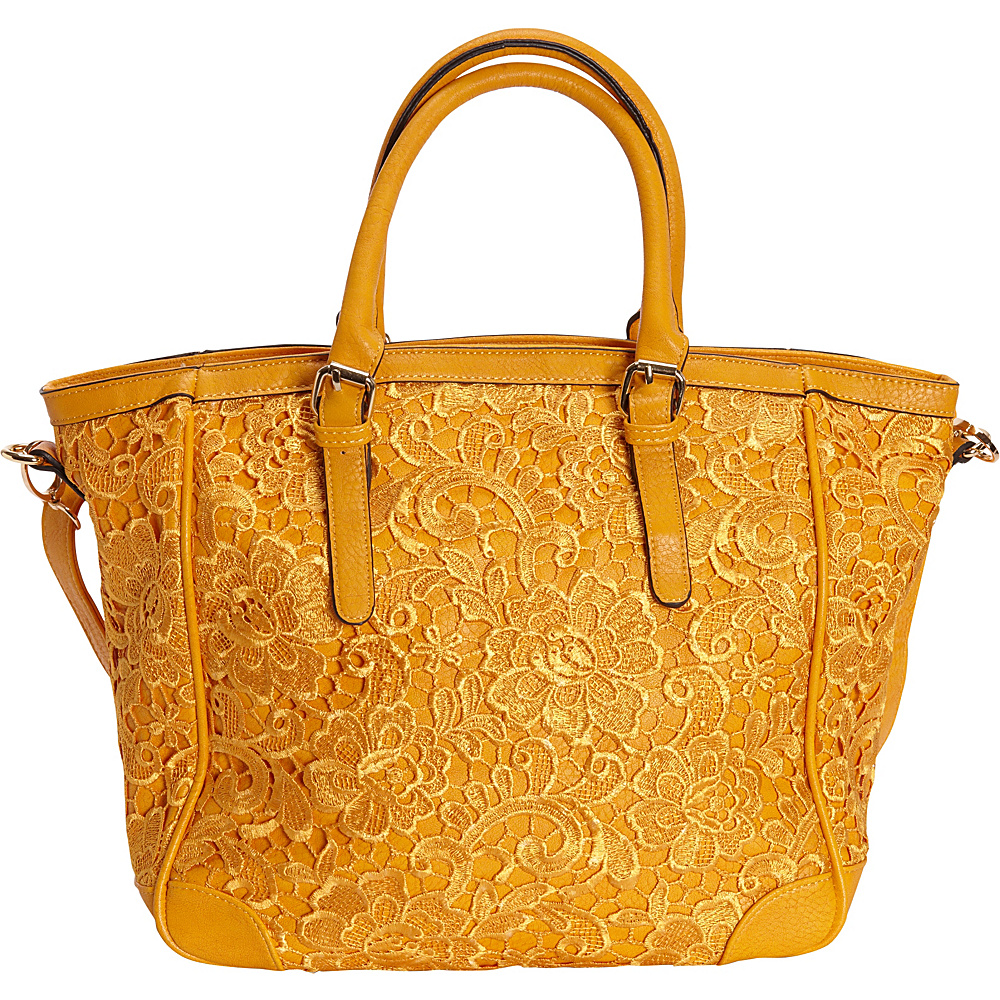 SW Global Farah Retro Lace Tote Bag Yellow - SW Global Manmade Handbags - Handbags, Manmade Handbags