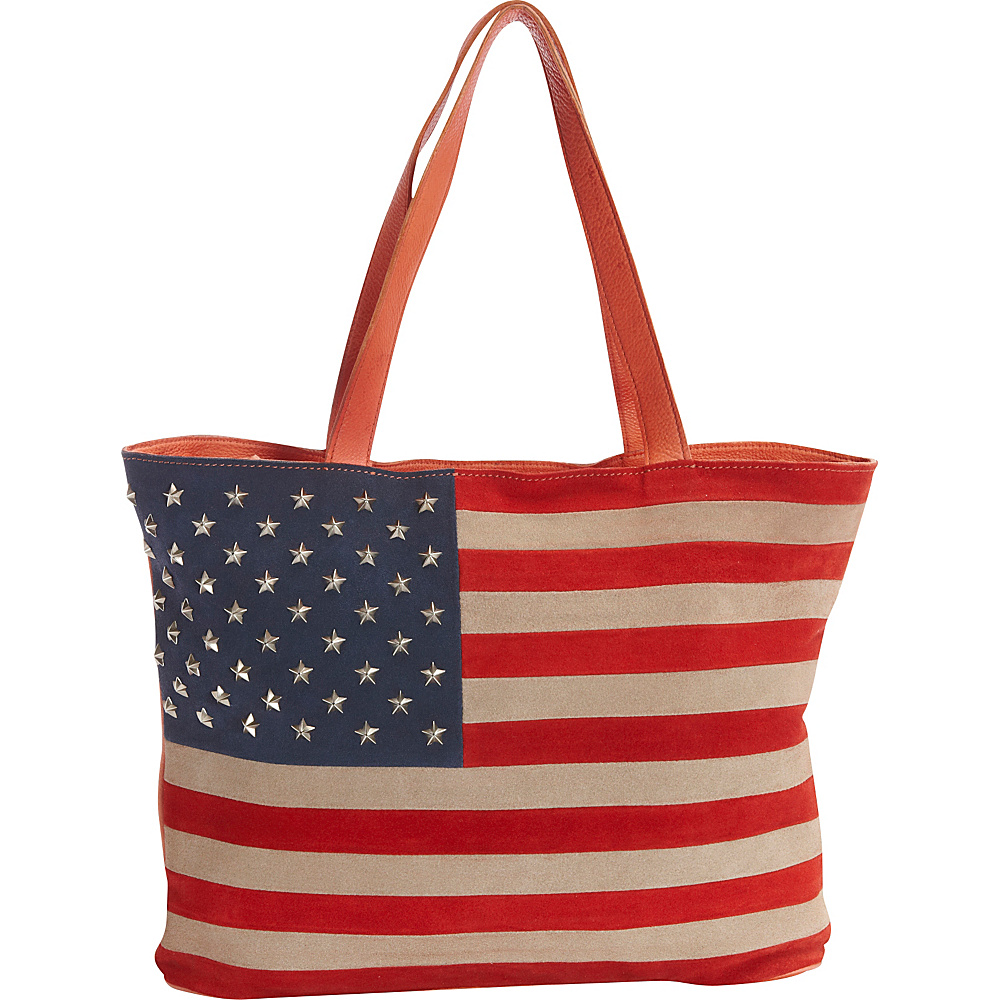 Scully Suede Flag Shoulder Bag with Studded Stars Red White and Blue Scully Leather Handbags