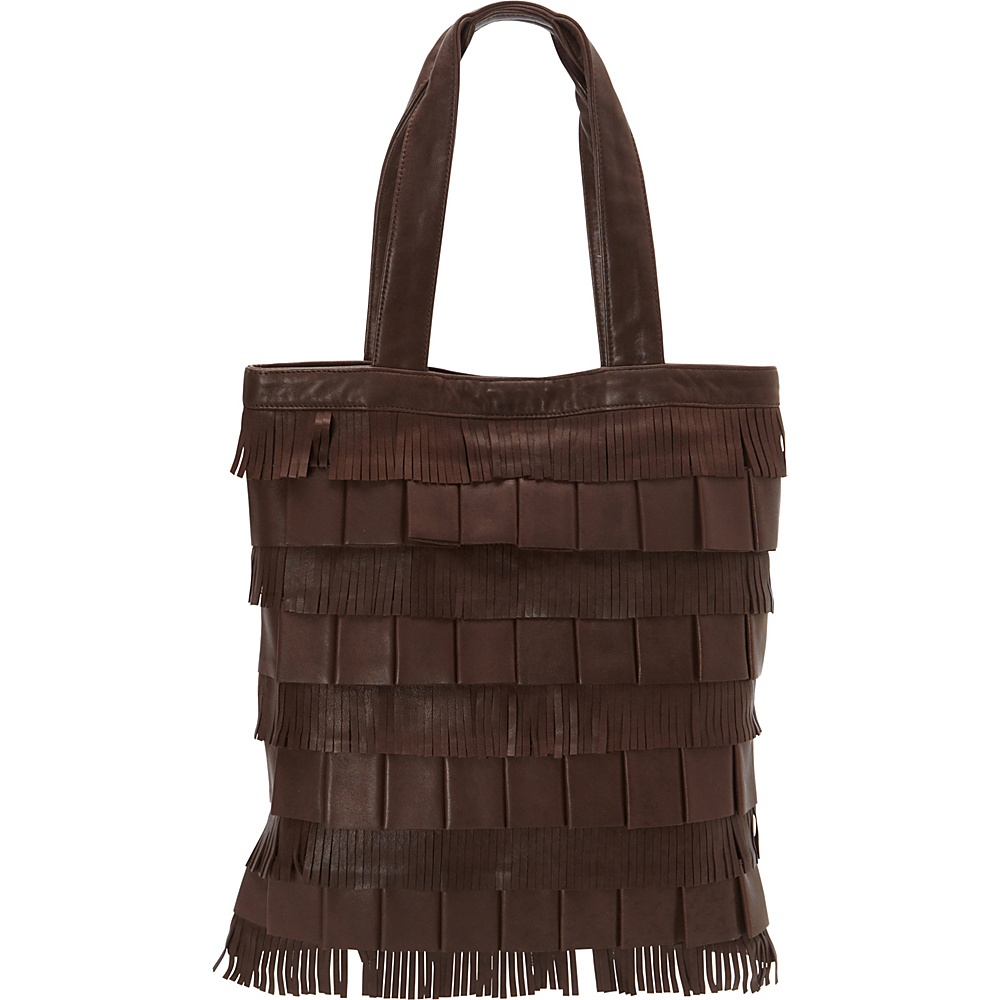 Scully Soft Lamb Fringe Tote Brown Scully Leather Handbags