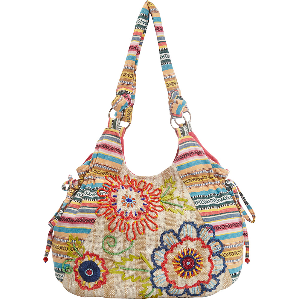 Scully Flower Power Floral Pattern Shoulder Bag Natural Scully Fabric Handbags