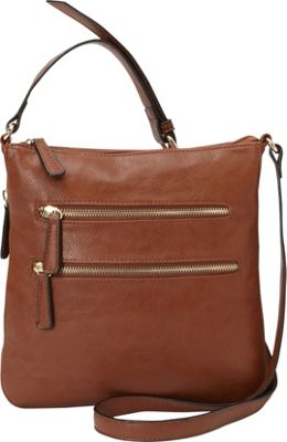 Medici RFID Double Zip Crossbody Cognac - Medici Manmade Handbags
