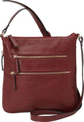 Medici RFID Double Zip Crossbody Merlot - Medici Manmade Handbags