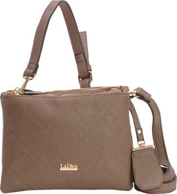 La Diva Double Zip Crossbody Taupe - La Diva Manmade Handbags
