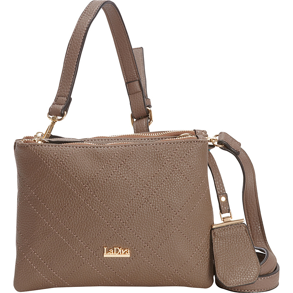 La Diva Double Zip Crossbody Taupe La Diva Manmade Handbags