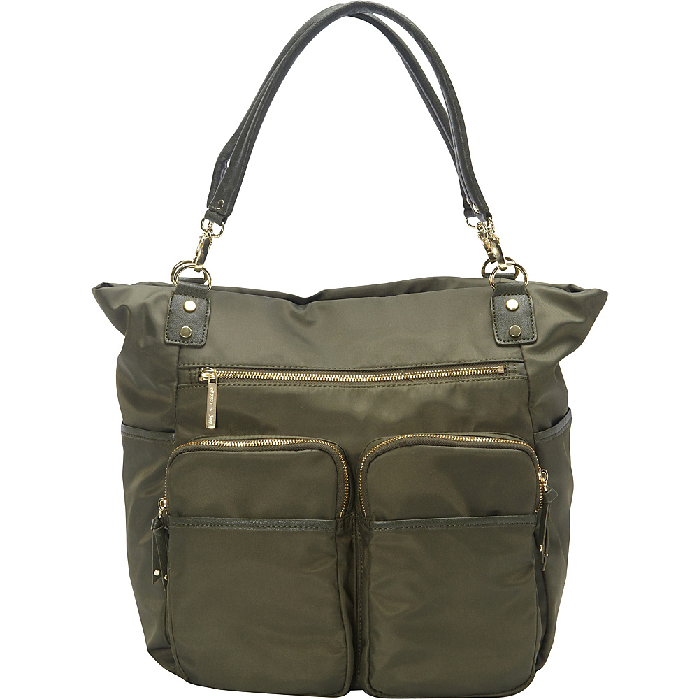 41 64 More Details Olivia Joy Zip Zoom Tote Army Green Fabric Handbags