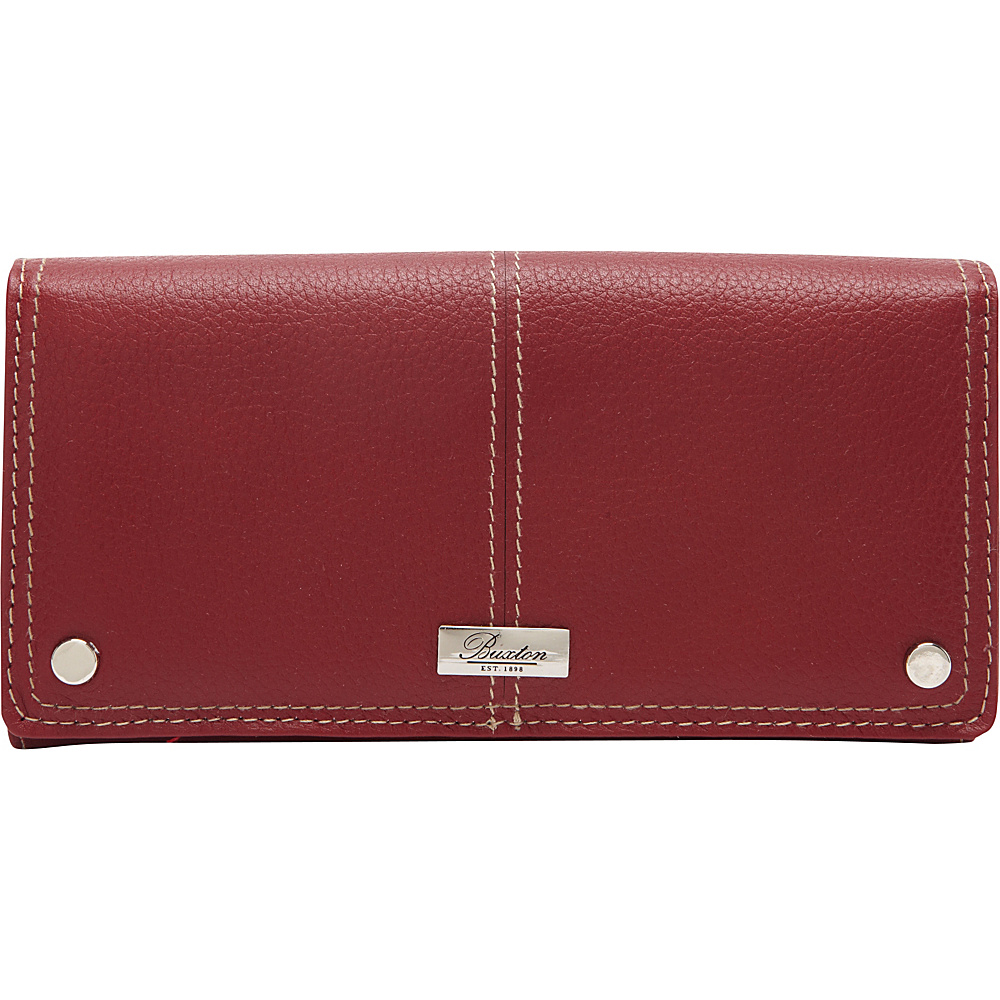 Buxton Westcott L-Zip Expandable Wallet Dark Red - Buxton Womens Wallets - Women's SLG, Women's Wallets