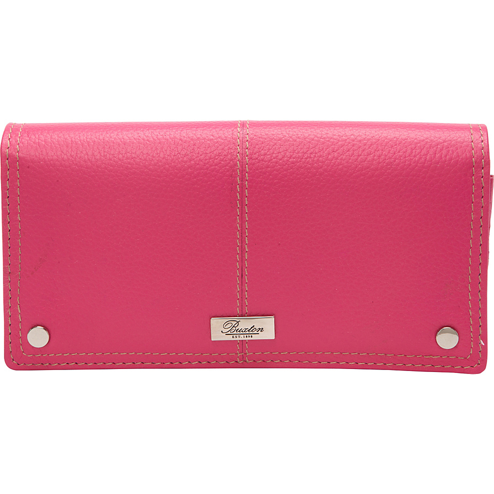 Buxton Westcott L-Zip Expandable Wallet Fuchsia Pink - Buxton Womens Wallets - Women's SLG, Women's Wallets