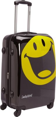 Smiley 26 inch Smiley Happy World Spinner Black - Smiley Hardside Checked