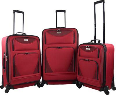 Travelers Club Luggage Sky-View 2.0 3PC EVA Expandable Spinner Luggage Set Red - Travelers Club Luggage Luggage Sets