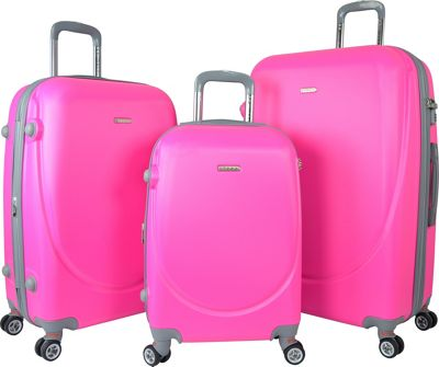 Travelers Club Luggage Barnet 2.0 3PC Round Shell Expandable Double-Spinner Luggage Set Neon Pink - Travelers Club Luggage Luggage Sets