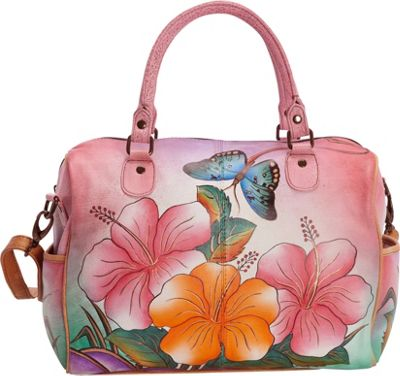 ANNA by Anuschka Hand Painted Large Satchel Hawaiian Hibiscus - ANNA by Anuschka Leather Handbags