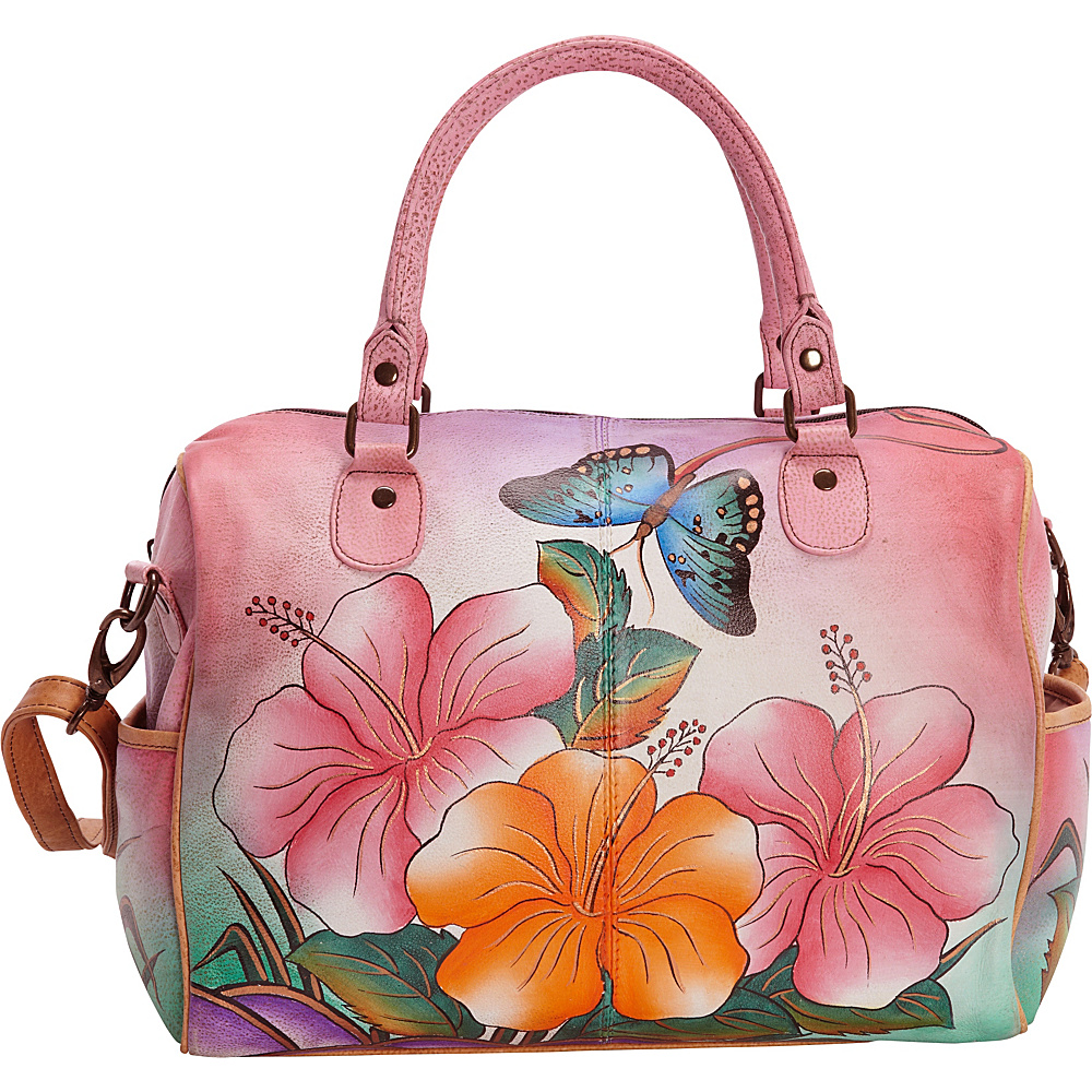 ANNA by Anuschka Hand Painted Large Satchel Hawaiian Hibiscus ANNA by Anuschka Leather Handbags