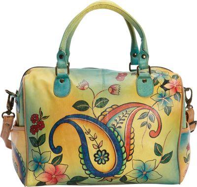 ANNA by Anuschka Hand Painted Large Satchel Jaipur Paisley Spring - ANNA by Anuschka Leather Handbags