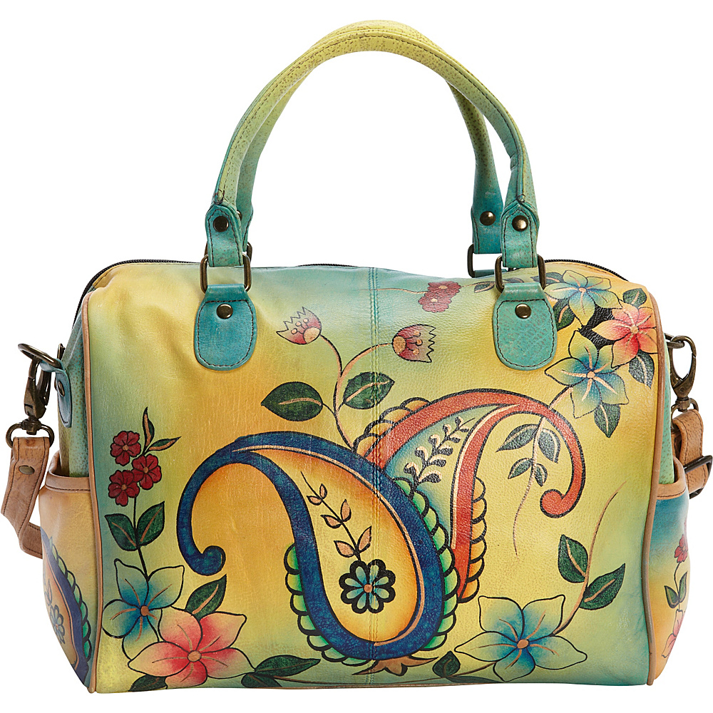 ANNA by Anuschka Hand Painted Large Satchel Jaipur Paisley Spring ANNA by Anuschka Leather Handbags